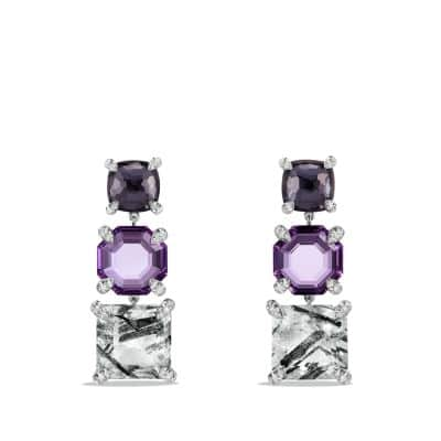 Chatelaine Triple Drop Earrings with Tourmilated Quartz, Amethyst, Black Orchid and Diamonds