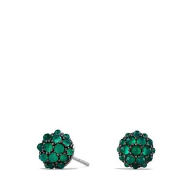 Osetra Stud Earrings with Green Onyx, 10mm
