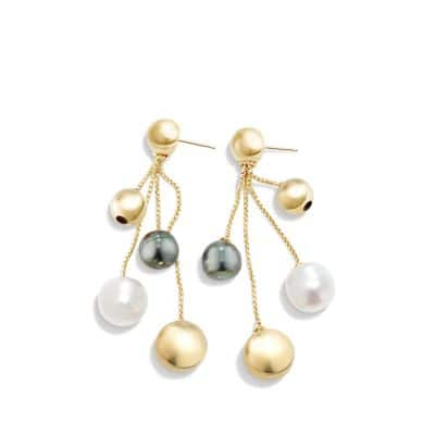 Solari Fringe Earrings with Pearls in 18K Gold
