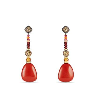 Delta Drop Earring with Red Jasper, Garnet, Orange and Yellow Sapphire and 18K Gold