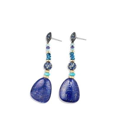 Delta Drop Earring with Lapis Lazuli, Hampton Blue Topaz, Blue and Gray Sapphire and 18K Gold