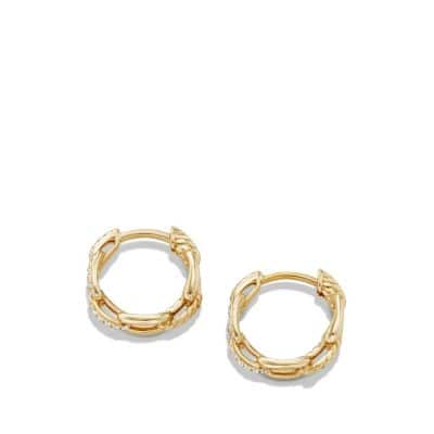 Stax Chain Link Huggie Hoop Earrings with Diamonds in 18K Gold