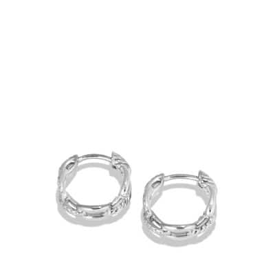 Stax Chain Link Huggie Hoop Earrings with Diamonds in 18K White Gold