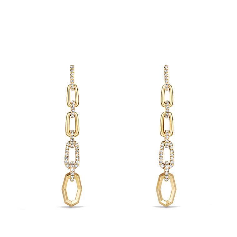 Convertible Chain Link Earrings with Diamonds in 18K Gold