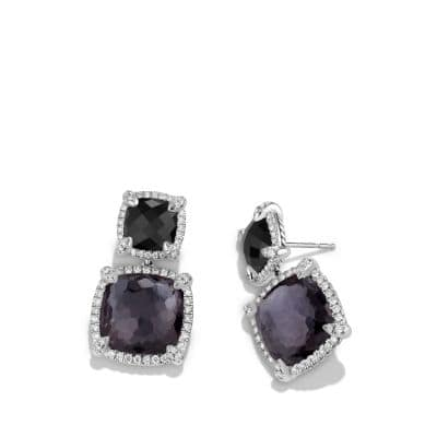 Châtelaine® Pave Bezel Double Drop Earring with Black Orchid, Black Onyx and Diamonds