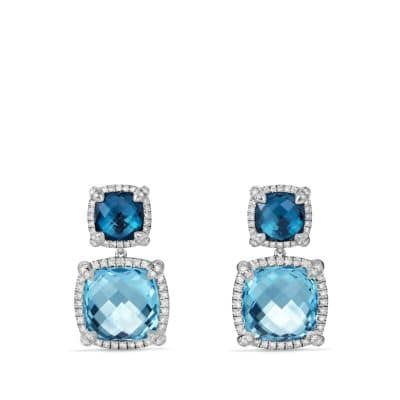 Chatelaine Pave Bezel Double Drop Earring with Blue Topaz, Hampton Blue Topaz and Diamonds