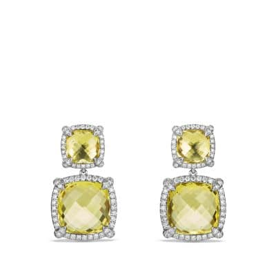 Chatelaine Pave Bezel Double Drop Earring with Lemon Citrine and Diamonds