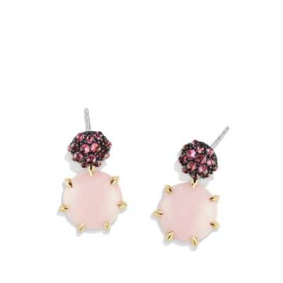 Osetra Drop Earrings with Pink Opal, Rhodalite Garnet and 18K Gold