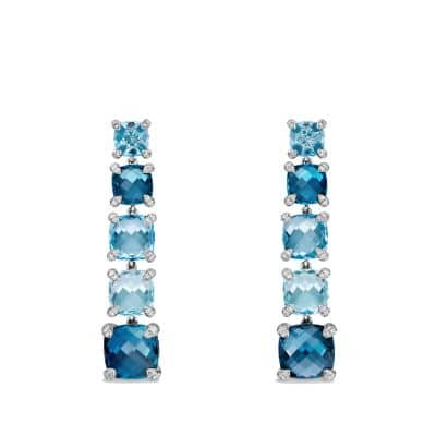 Chatelaine Linear Earrings with Hampton Blue Topaz, Blue Topaz and Diamonds