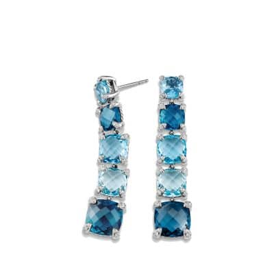 Châtelaine Linear Earrings with Hampton Blue Topaz, Blue Topaz and Diamonds