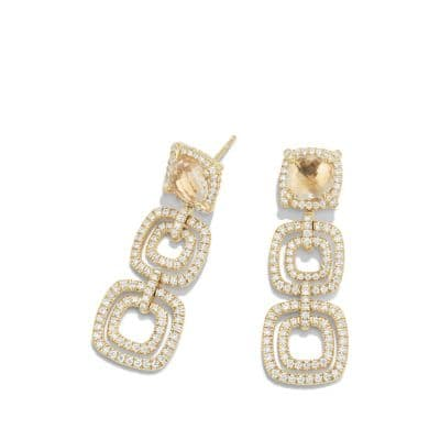 Chatelaine Pave Bezel Statement Drop Earring with Champagne Citrine and Diamonds in 18K Gold
