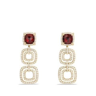 Châtelaine Pave Bezel Triple Drop Earring with Garnet and Diamonds in 18K Gold