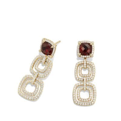 Chatelaine Pave Bezel Triple Drop Earring with Garnet and Diamonds in 18K Gold