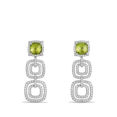 Chatelaine Pave Bezel Triple Drop Earring with Peridot and Diamonds in 18K White Gold