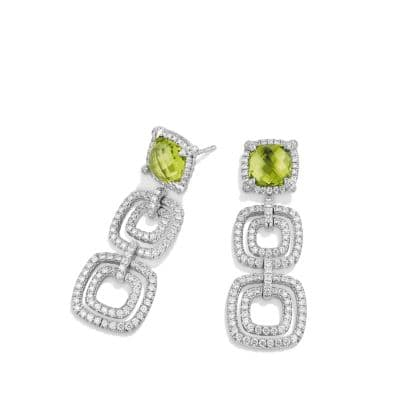 Châtelaine Pave Bezel Triple Drop Earring with Peridot and Diamonds in 18K White Gold