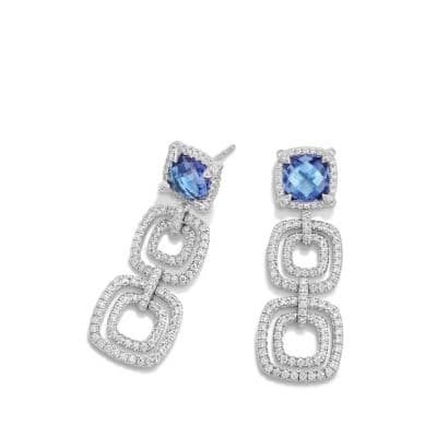 Châtelaine Pave Bezel Triple Drop Earring with Tanzanite and Diamonds in 18K White Gold
