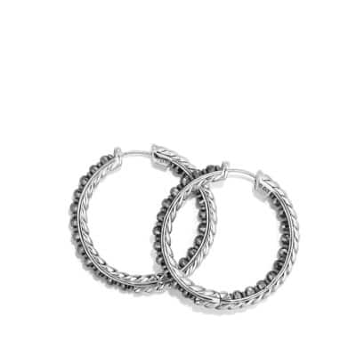 Osetra Hoop Earring with Hematine