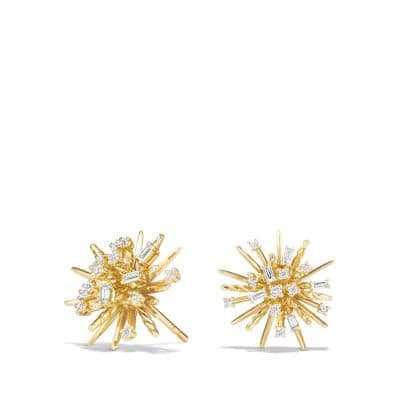 Supernova Stud Earrings with Diamonds in 18K Gold