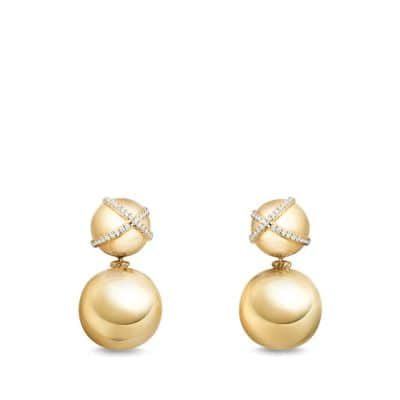 Solari Pave Wrap Double Drop Earring with Diamonds in 18K Gold