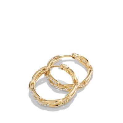 Stax Medium Chain Link Hoop Earrings with Diamonds in 18K Gold
