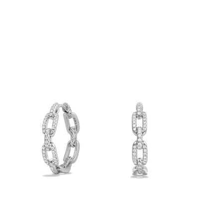 Stax Medium Chain Link Hoop Earrings with Diamonds in 18K White Gold