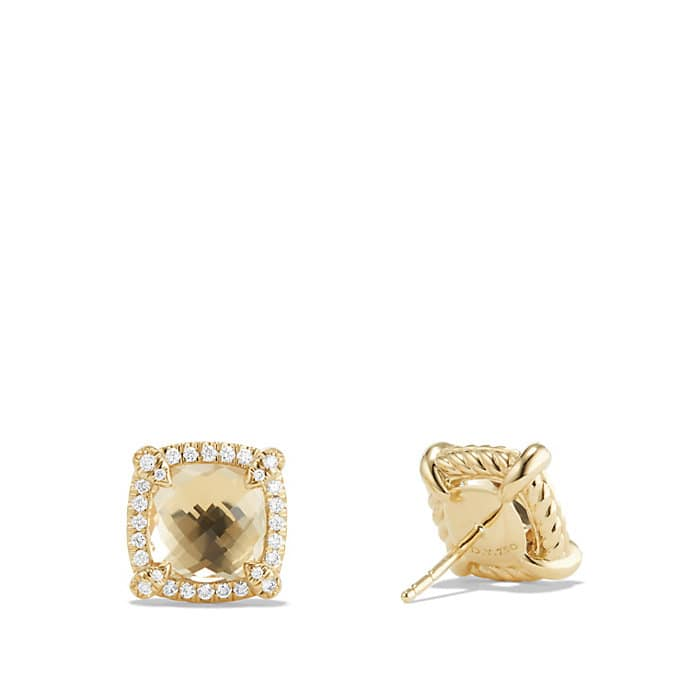 Chatelaine Pave Bezel Stud Earring with Champagne Citrine and Diamonds in 18K Gold, 8mm
