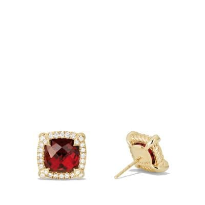 Chatelaine Pave Bezel Stud Earring with Garnet and Diamonds in 18K Gold, 8mm