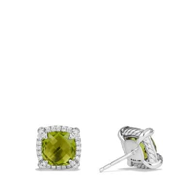 Chatelaine Pave Bezel Stud Earring with Peridot and Diamonds in 18K White Gold, 8mm