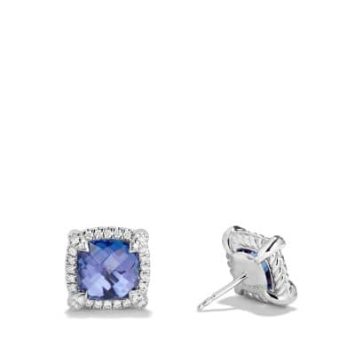 Chatelaine Pave Bezel Stud Earring with Tanzanite and Diamonds in 18K White Gold, 8mm