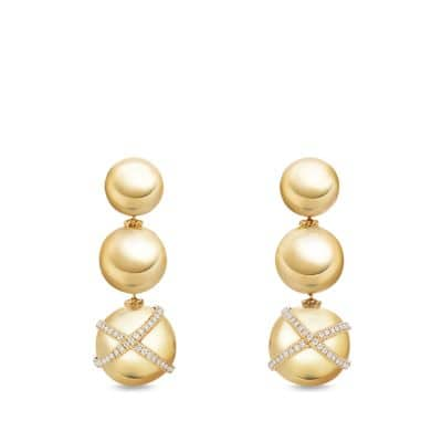 Solari Triple Drop Earrings With Diamonds In 18 K Gold by David Yurman