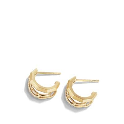 Stax Double Huggie Hoop Earrings with Diamonds in 18K Gold
