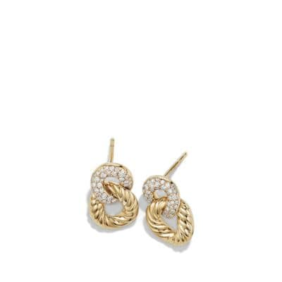 Belmont® Extra-Small Curb Link Drop Earrings with Diamonds in 18K Gold