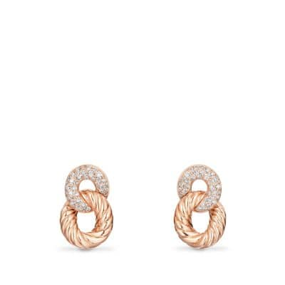 Belmont® Extra-Small Curb Link Drop Earrings with Diamonds in 18K Rose Gold