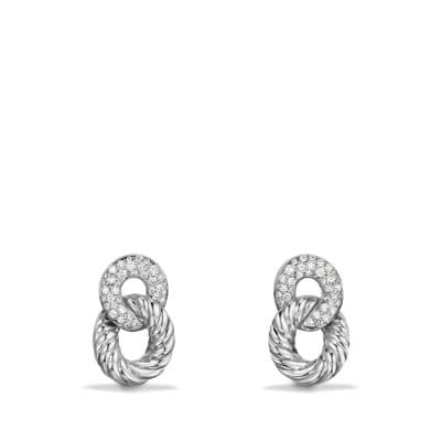 Belmont Extra-Small Curb Link Drop Earrings with Diamonds in 18K White Gold