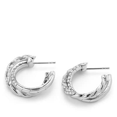 Pavéflex Petite Hoop Earrings with Diamonds in 18K White Gold