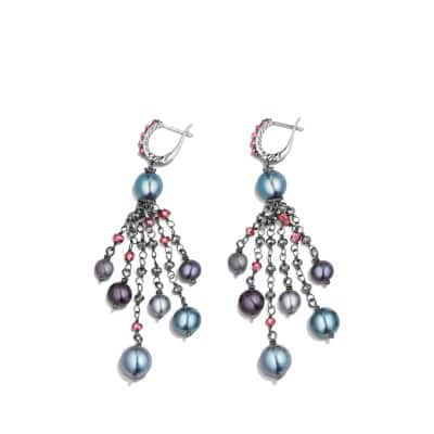 Oceanica Fringe Earrings with Grey Pearls and Hematine