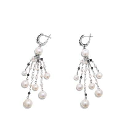 Oceanica Fringe Earrings with Pearls and Black Spinel
