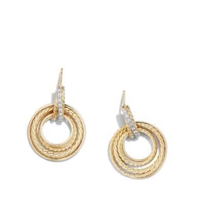 Crossover® Drop Earrings with Diamonds in 18k Yellow Gold, 30mm