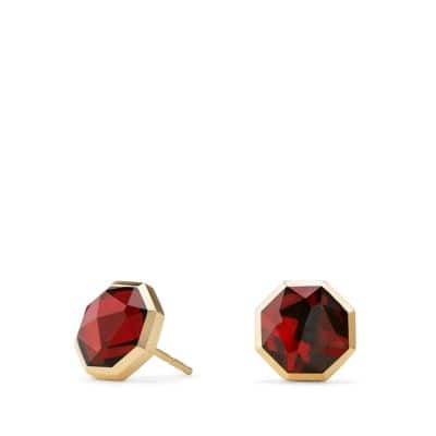 Guilin Octagon Earrings with Garnet in 18K Gold