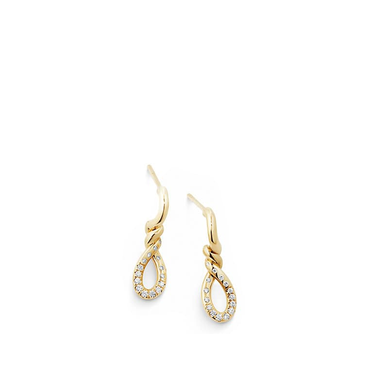 Continuance® Small Drop Earrings with Diamonds in 18K Gold