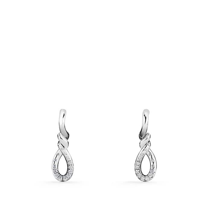 Continuance Small Drop Earrings with Diamonds in 18K White Gold