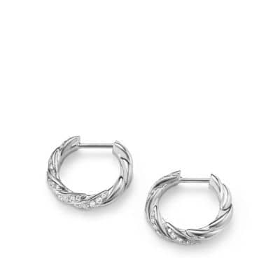 Pavéflex Huggie Hoop Earrings with Diamonds in 18K White Gold