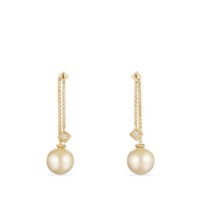Solari Drop Earrings in 18k Gold with Diamonds and South Sea Yellow Pearl