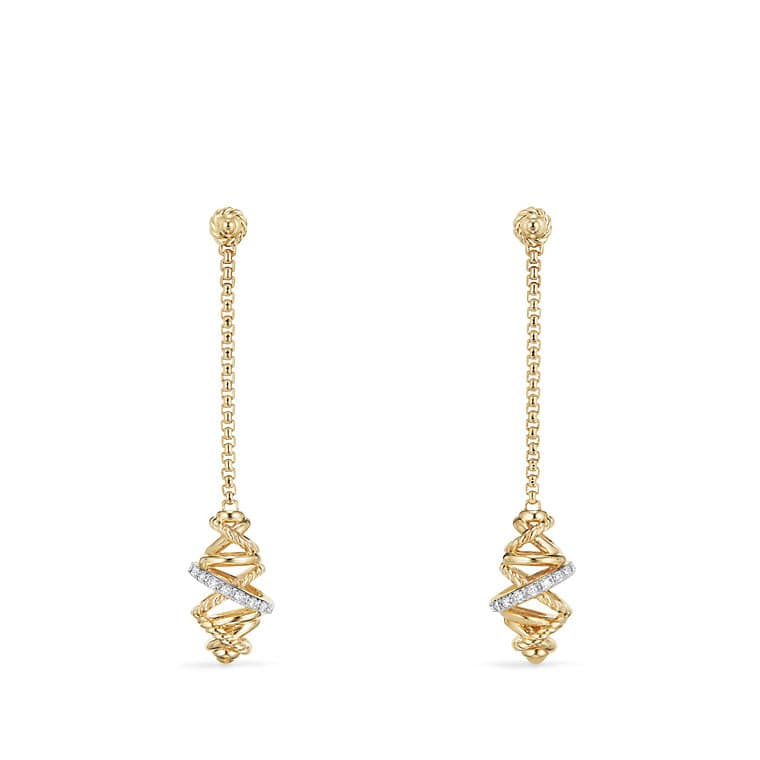 Crossover Chain Drop Earrings With Diamonds In 18k Gold 54mm