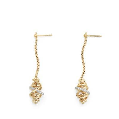 Crossover Chain Drop Earrings with Diamonds in 18K Gold , 54mm