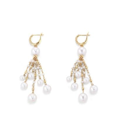Oceanica Tassel Earrings with Pearls and Diamonds in 18k Gold