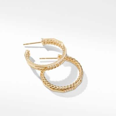 Stax Hoop Earrings with Diamonds in 18K Gold, 25mm