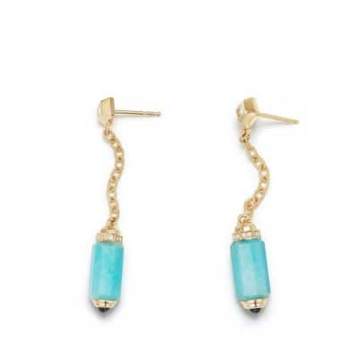 Barrels Chain Drop Earrings with  Amazonite, Sapphires and Diamonds in 18K Gold