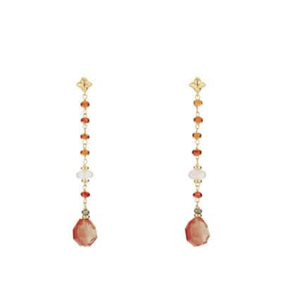 Bead and Chain Earrings with Sun Stone, Rose Quartz and Hessonite Garnet in 18K Gold