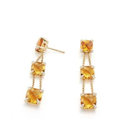 Chatelaine® Linear Chain Earrings with Citrine and Diamonds in 18K Gold